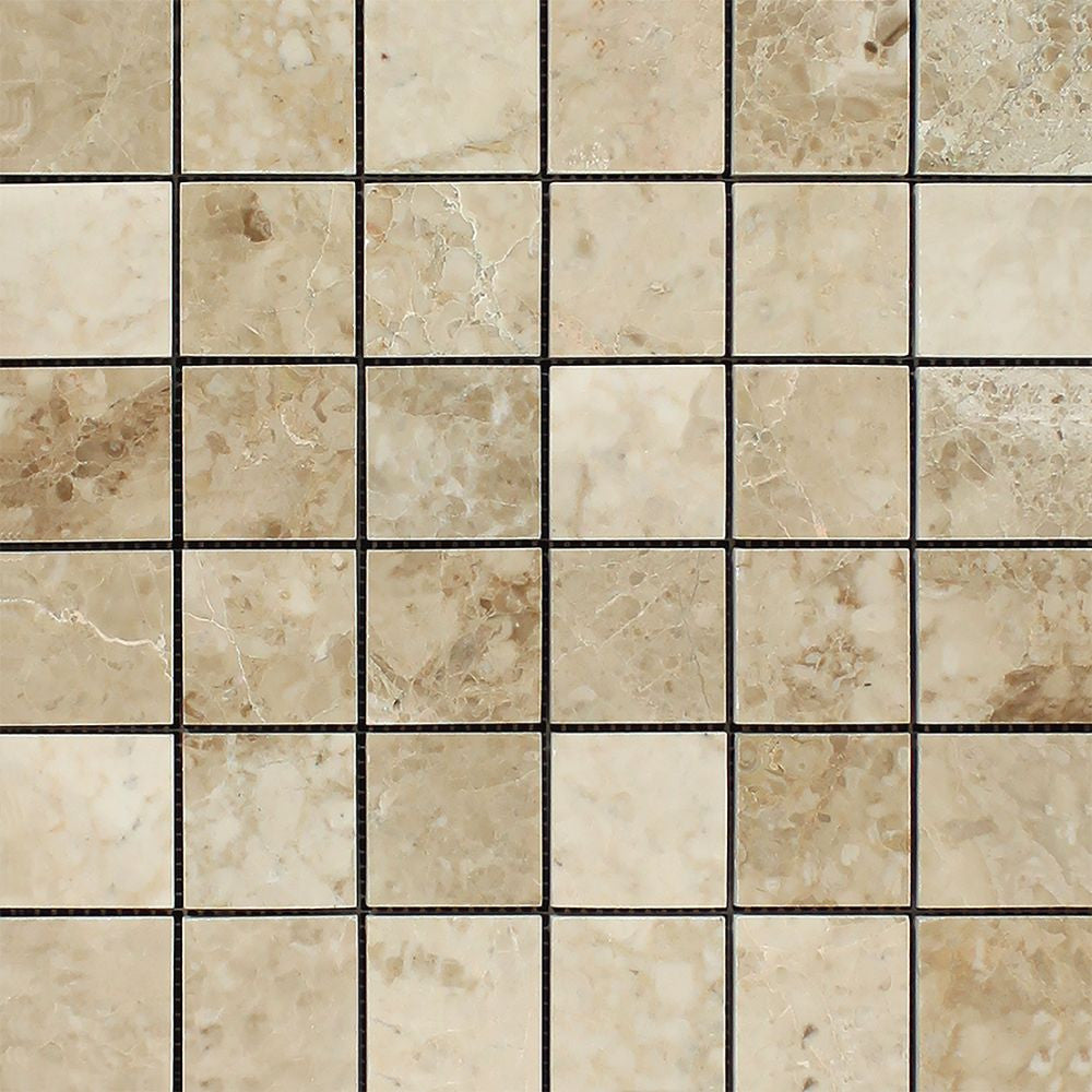 2 x 2 Polished Cappuccino Marble Mosaic Tile Sample - Tilephile