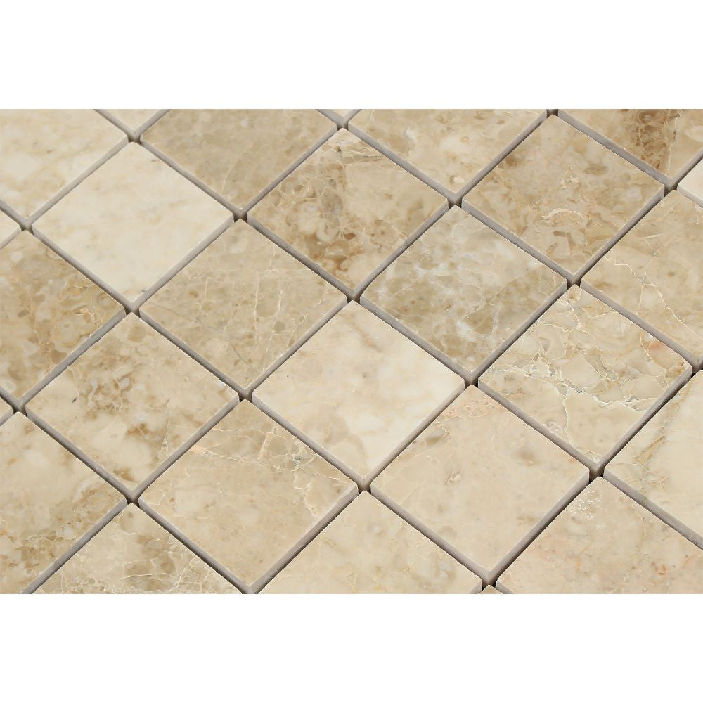 2 x 2 Polished Cappuccino Marble Mosaic Tile - Tilephile