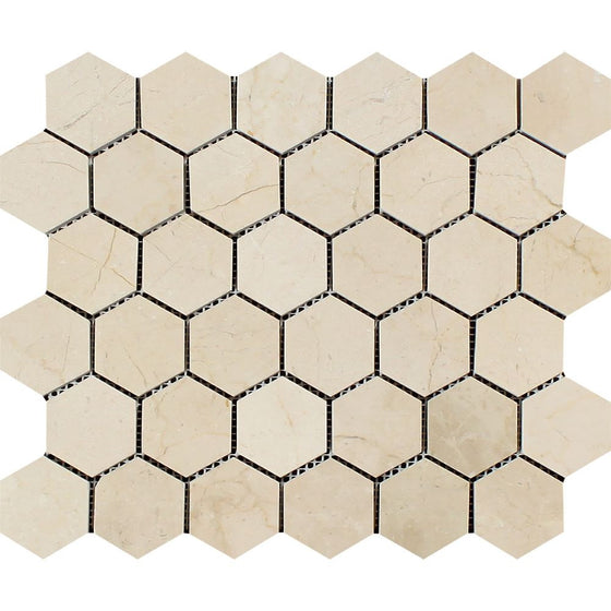 2 x 2 Polished Crema Marfil Marble Hexagon Mosaic Tile