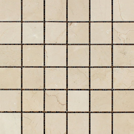 2 x 2 Polished Crema Marfil Marble Mosaic Tile