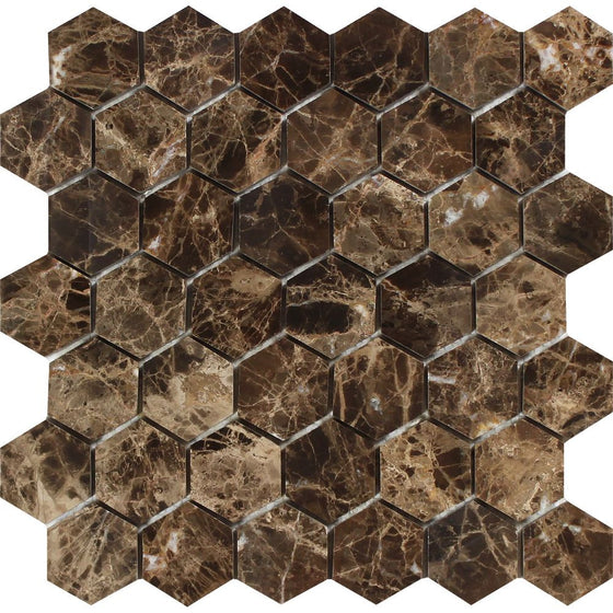2 x 2 Polished Emperador Dark Marble Hexagon Mosaic Tile