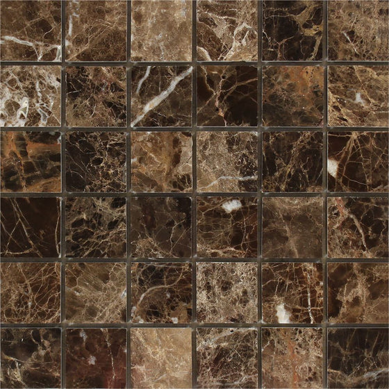 2 x 2 Polished Emperador Dark Marble Mosaic Tile