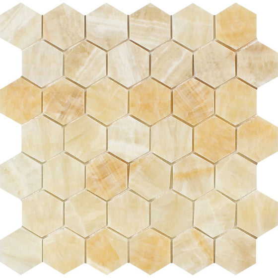 2 x 2 Polished Honey Onyx Hexagon Mosaic Tile