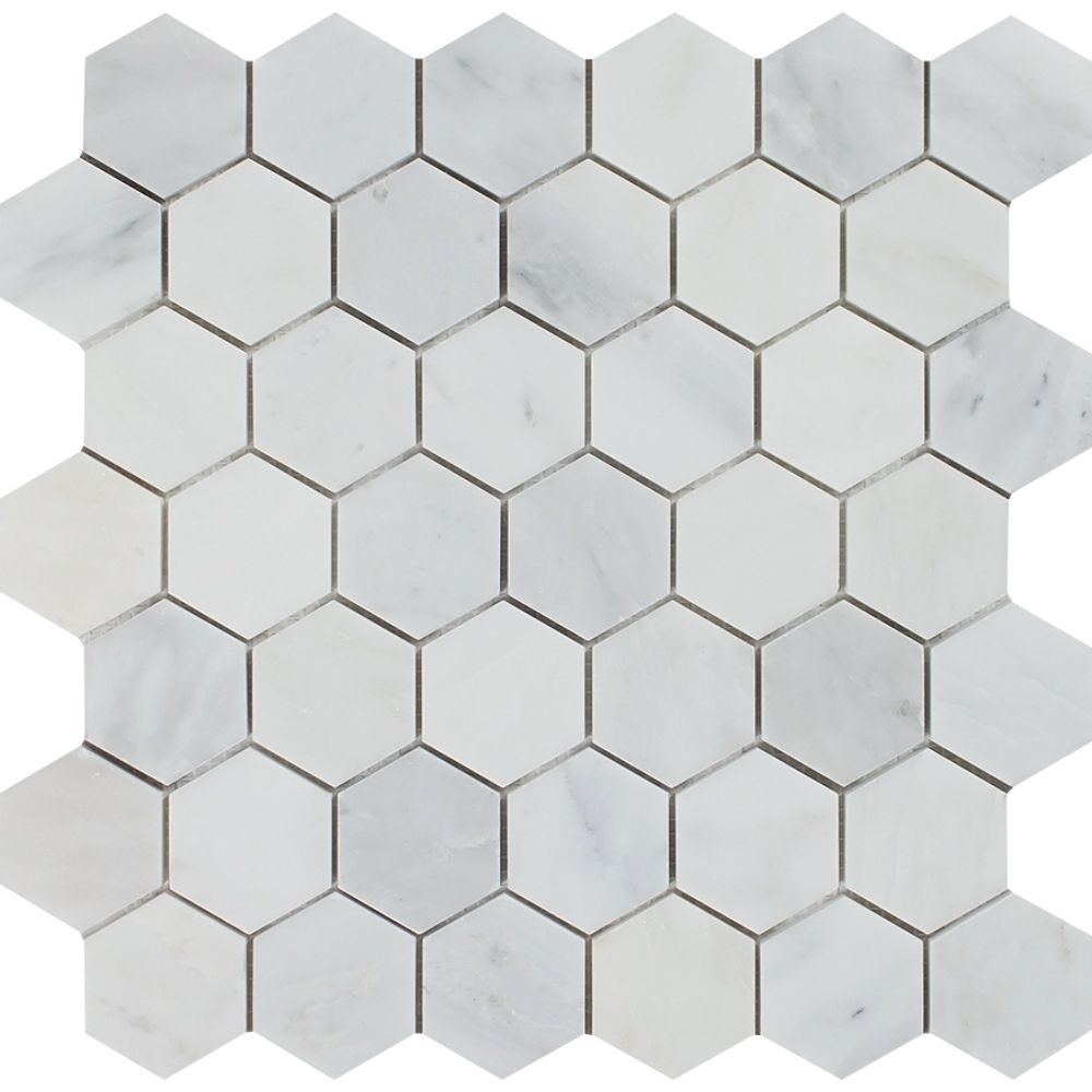 2 x 2 Polished Oriental White Marble Hexagon Mosaic Tile Sample - Tilephile