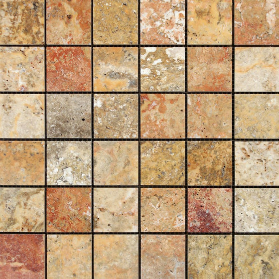 2 x 2 Polished Scabos Travertine Mosaic Tile