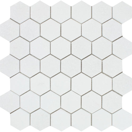 2 x 2 Polished Thassos White Marble Hexagon Mosaic Tile - Tilephile