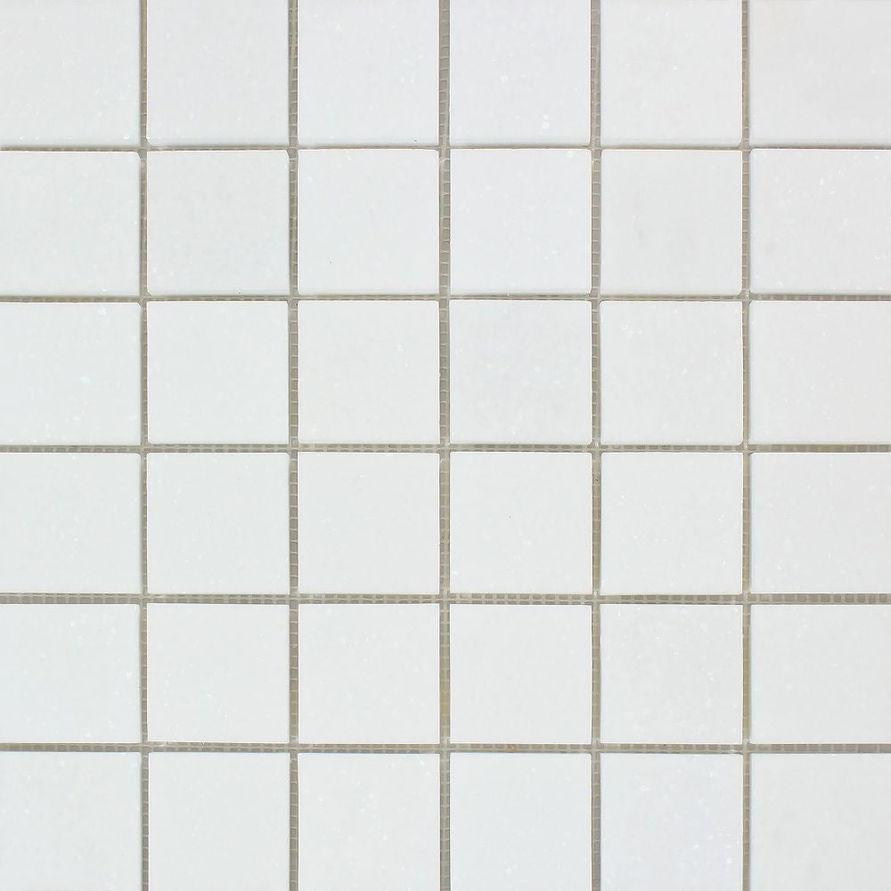 2 x 2 Polished Thassos White Marble Mosaic Tile Sample - Tilephile