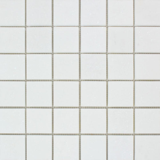 2 x 2 Polished Thassos White Marble Mosaic Tile - Tilephile