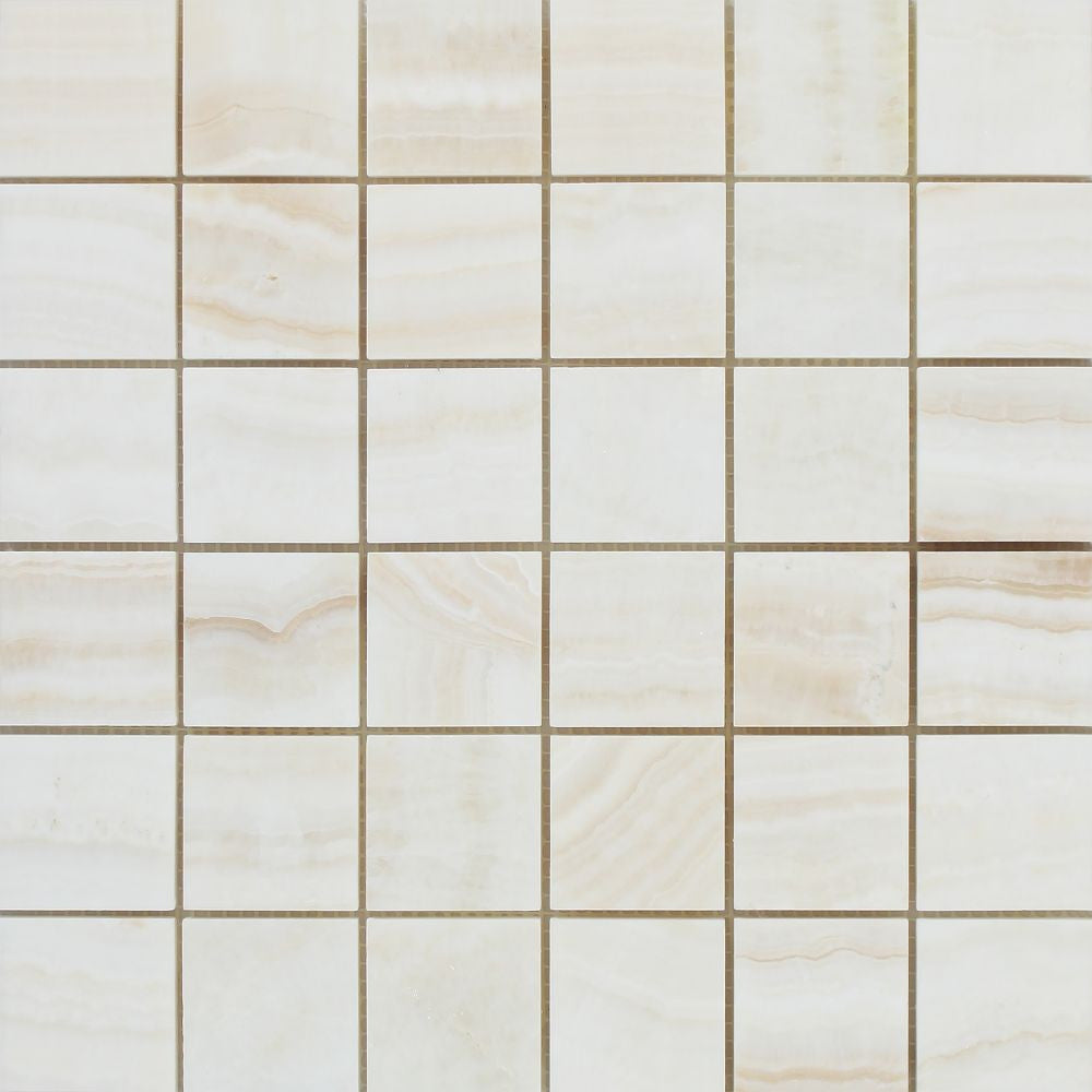 2 x 2 Polished White Onyx Mosaic Tile - (Vein-Cut) - Tilephile