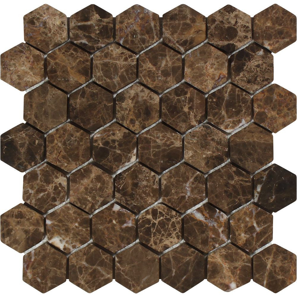 2 x 2 Tumbled Emperador Dark Marble Hexagon Mosaic Tile Sample