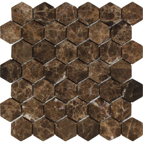 2 x 2 Tumbled Emperador Dark Marble Hexagon Mosaic Tile