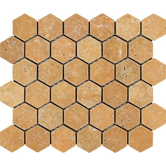 2 x 2 Tumbled Gold Travertine Hexagon Mosaic Tile