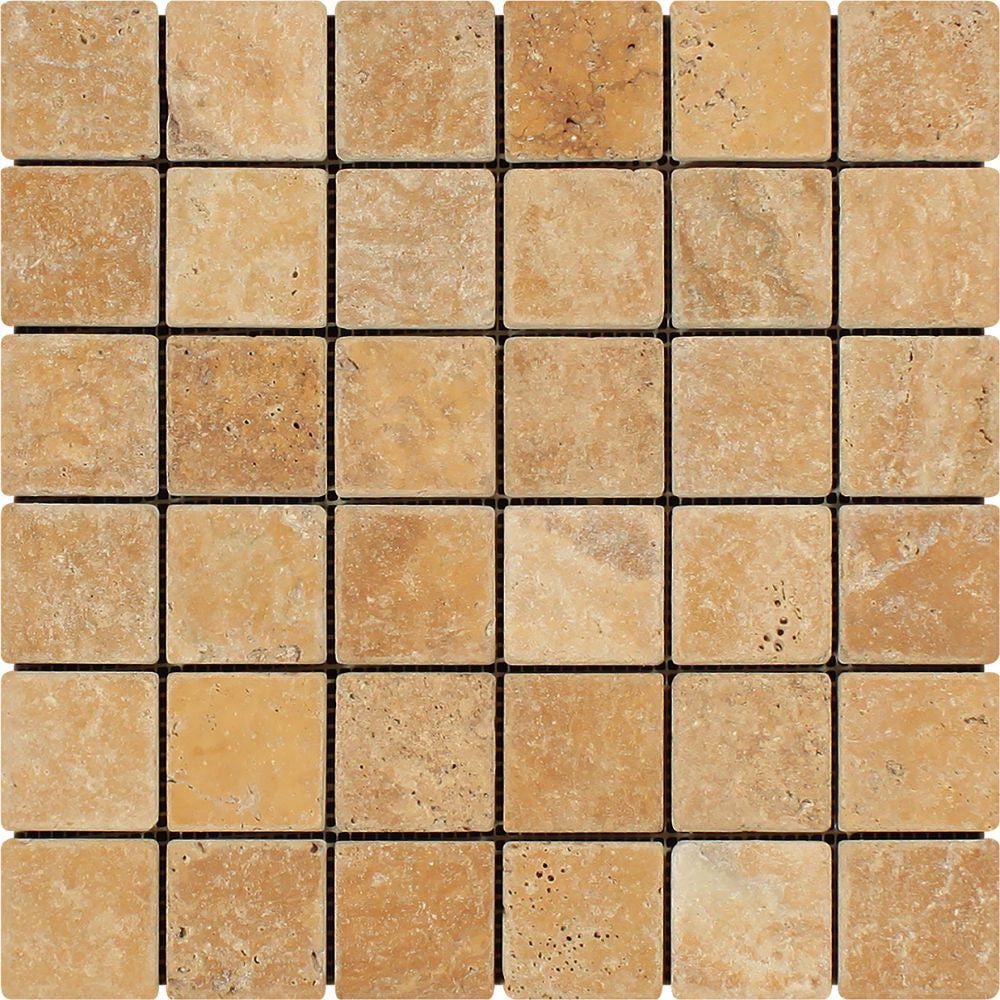 2 x 2 Tumbled Gold Travertine Mosaic Tile Sample - Tilephile