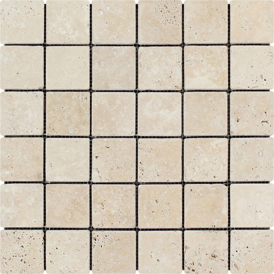 2 x 2 Tumbled Ivory Travertine Mosaic Tile - Tilephile