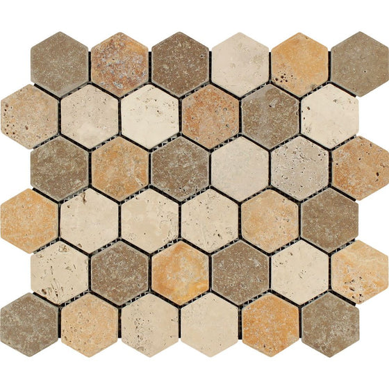 2 x 2 Tumbled Mixed Travertine Hexagon Mosaic Tile (Ivory + Noce + Gold) - Tilephile