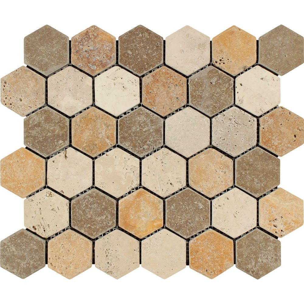 2 x 2 Tumbled Mixed Travertine Hexagon Mosaic Tile (Ivory + Noce + Gold) Sample - Tilephile