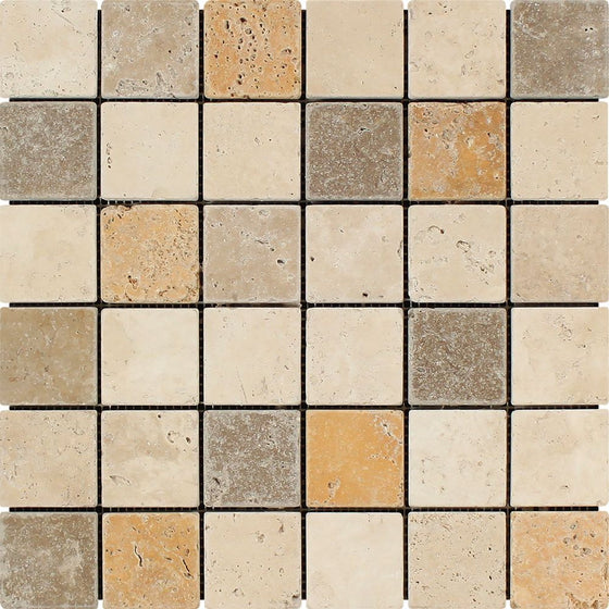2 x 2 Tumbled Mixed Travertine Mosaic Tile (Ivory + Noce + Gold) - Tilephile