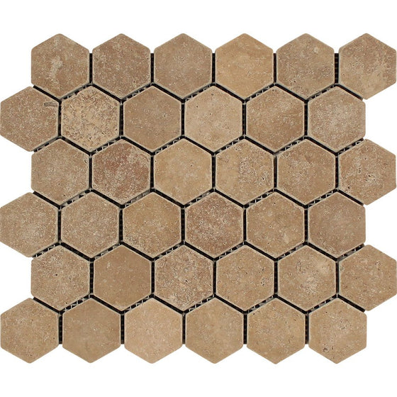 2 x 2 Tumbled Noce Travertine Hexagon Mosaic - Tilephile