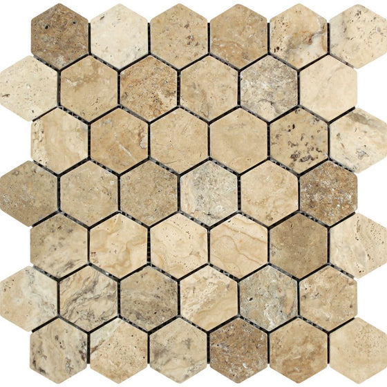 2 x 2 Tumbled Philadelphia Travertine Hexagon Mosaic Tile - Tilephile