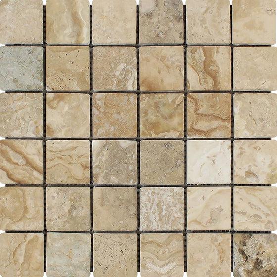 2 x 2 Tumbled Philadelphia Travertine Mosaic Tile - Tilephile