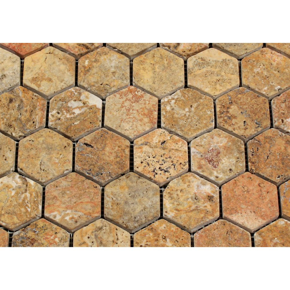 2 x 2 Tumbled Scabos Travertine Hexagon Mosaic Tile - Tilephile