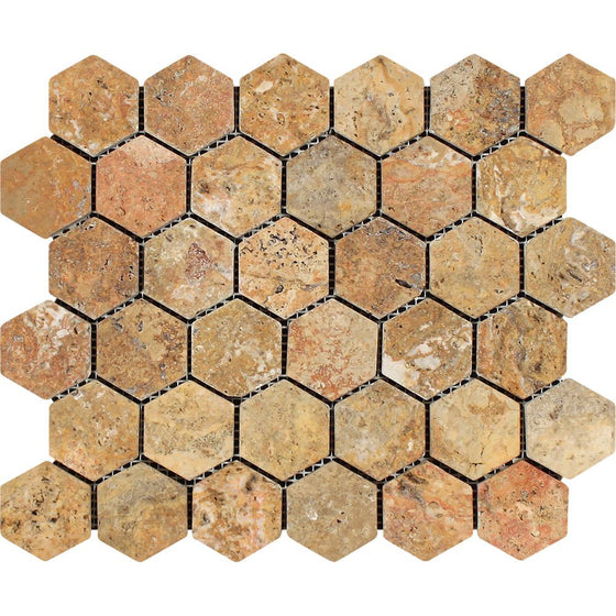 2 x 2 Tumbled Scabos Travertine Hexagon Mosaic Tile