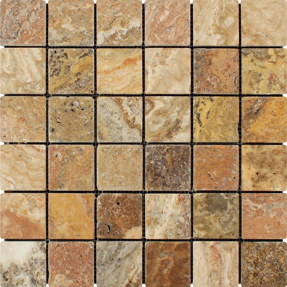 2 x 2 Tumbled Scabos Travertine Mosaic Tile Sample - Tilephile