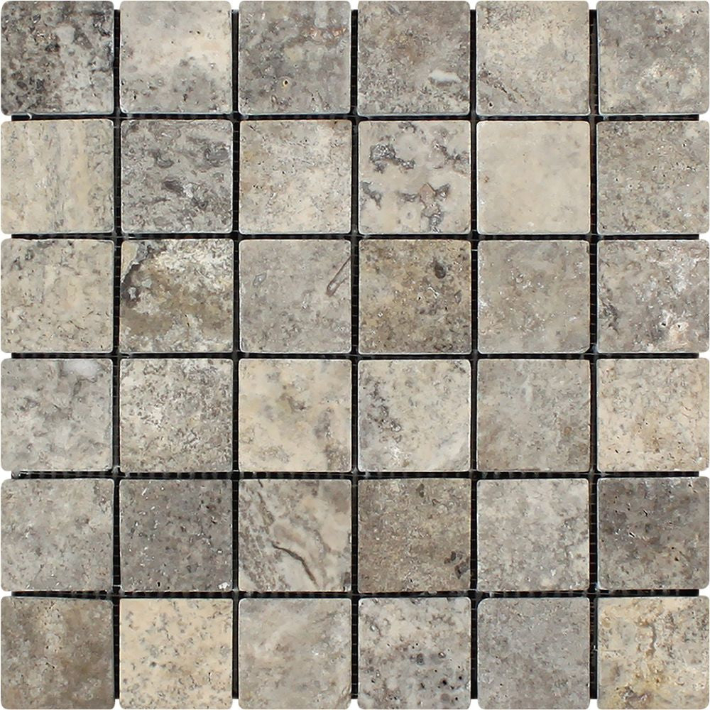 2 x 2 Tumbled Silver Travertine Mosaic Tile - Tilephile