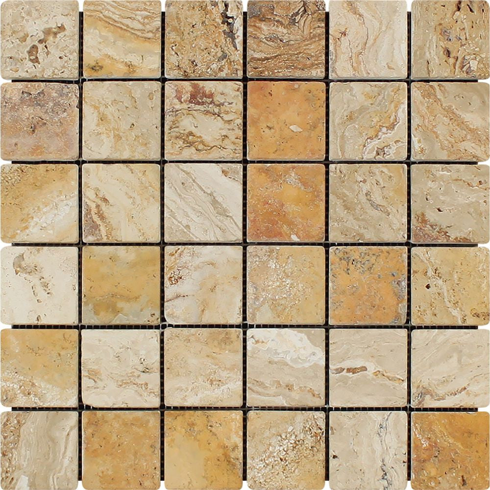 2 x 2 Tumbled Valencia Travertine Mosaic Tile Sample - Tilephile