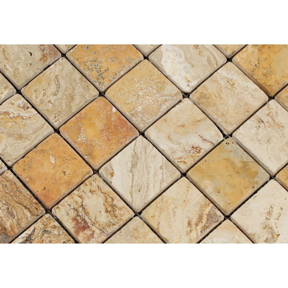 2 x 2 Tumbled Valencia Travertine Mosaic Tile - Tilephile