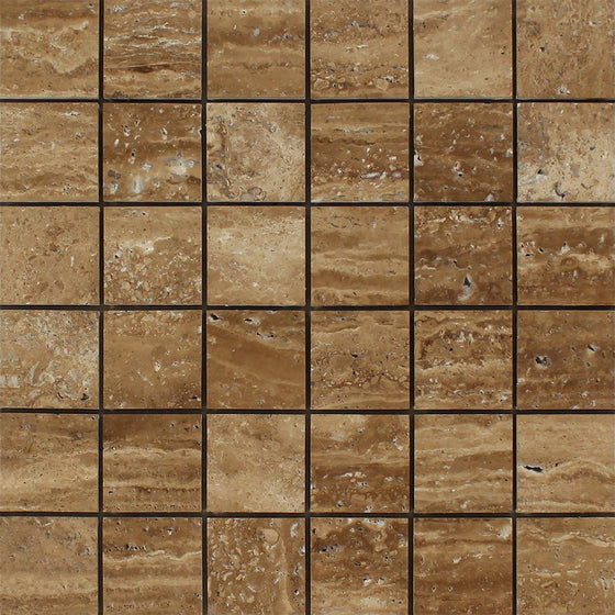 2 x 2 Unfilled, Brushed Noce Exotic (Vein-Cut) Travertine Mosaic Tile - Tilephile