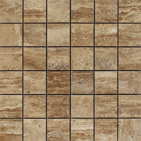2 x 2 Unfilled, Polished Noce Exotic (Vein-Cut) Travertine Mosaic Tile - Tilephile