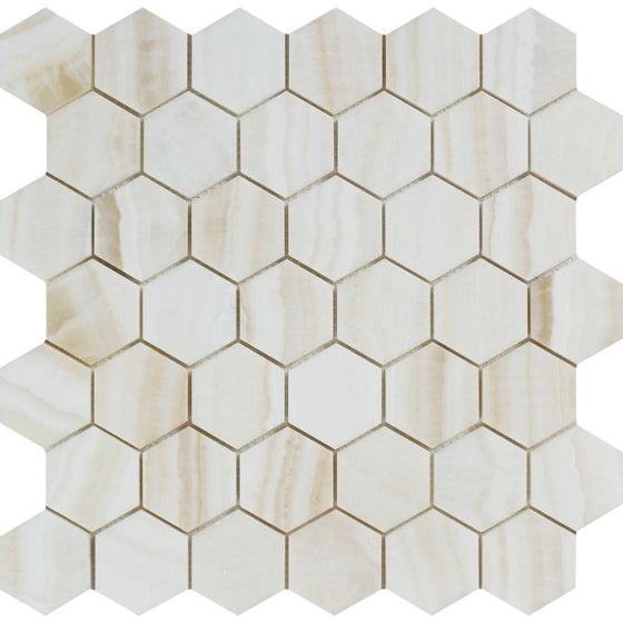2 x 2 White Onyx Polished Hexagon Mosaic Tile - (Vein-Cut) - Tilephile