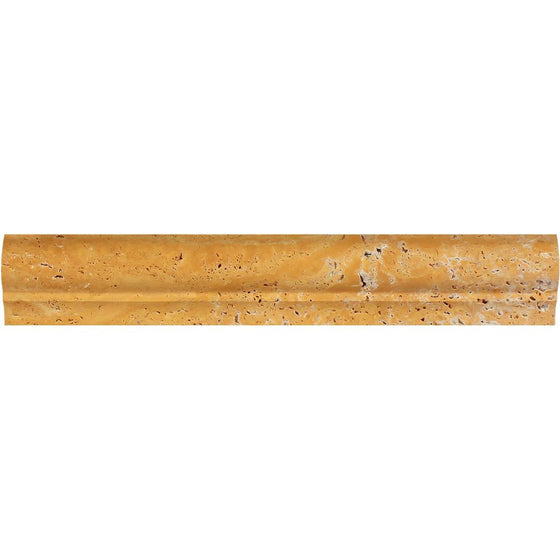 2 x 3 x 12  Honed Gold Travertine Corner Ogee Trim - Tilephile