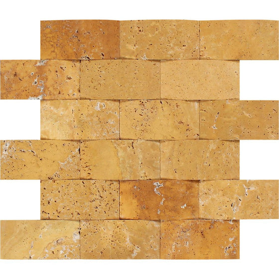 2 x 4 CNC-Arched Gold Travertine Brick Mosaic Tile - Tilephile