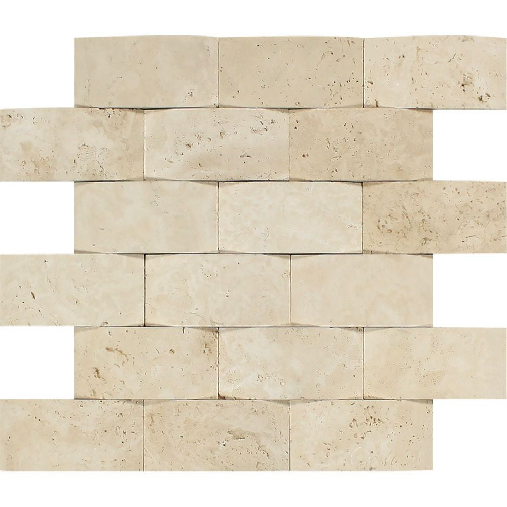 2 x 4 CNC-Arched Ivory Travertine Brick Mosaic Tile Sample - Tilephile