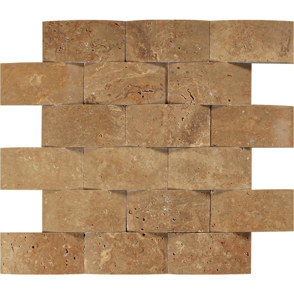 2 x 4 CNC-Arched Noce Travertine Brick Mosaic Tile Sample - Tilephile