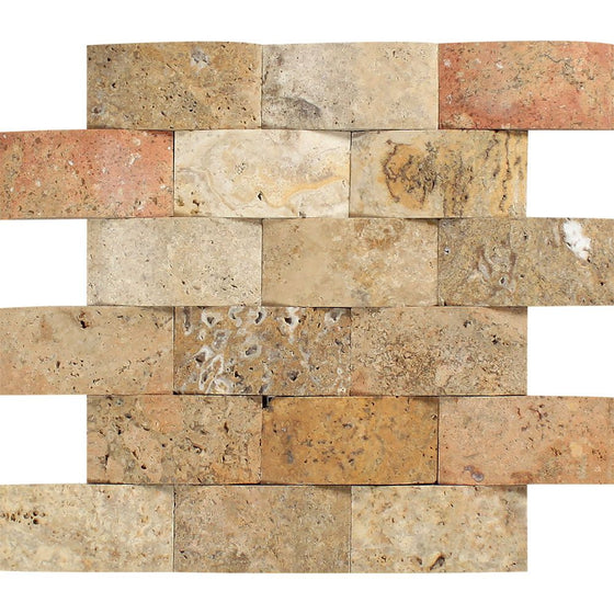 2 x 4 CNC-Arched Travertine Scabos Brick Mosaic Tile