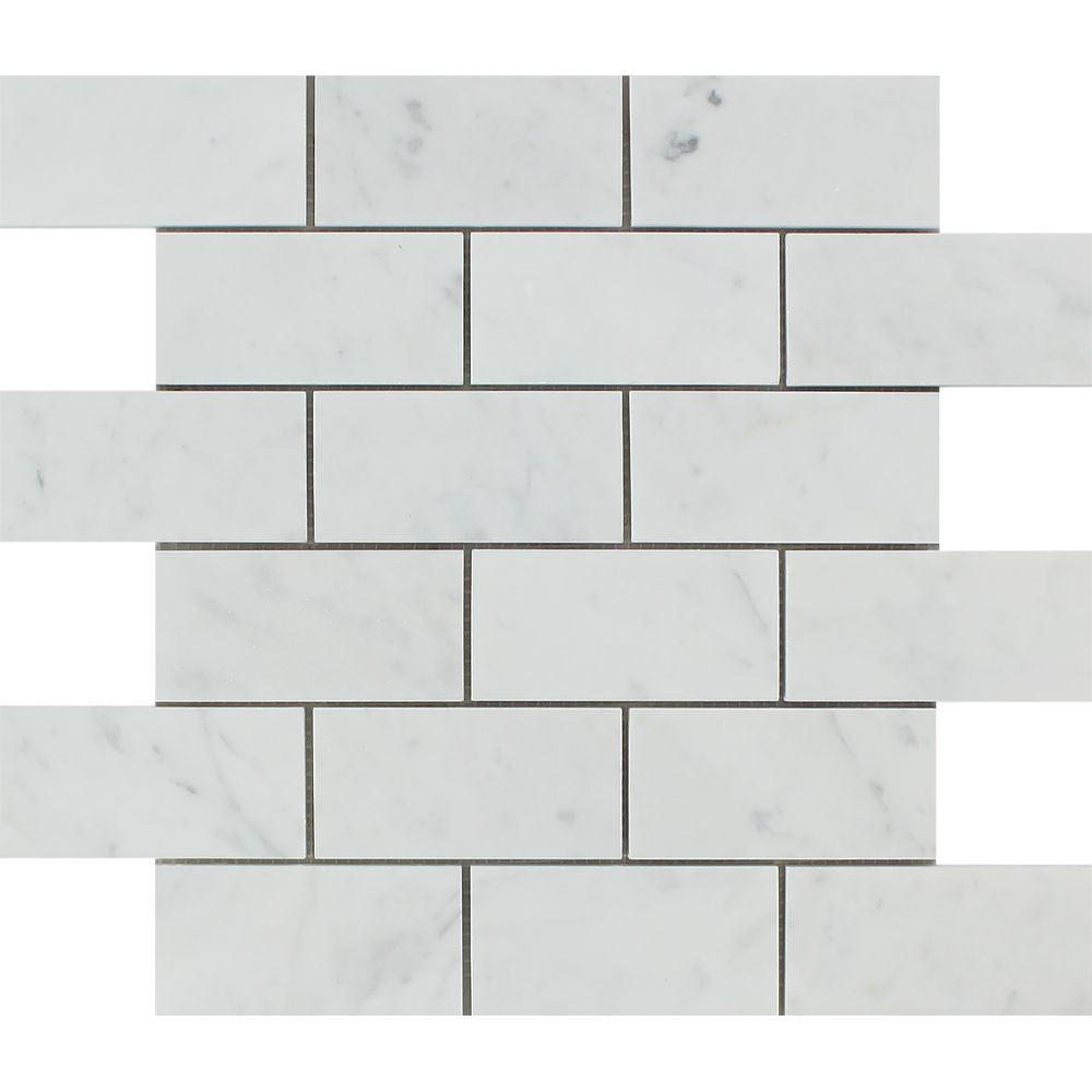 2 x 4 Honed Bianco Carrara Marble Brick Mosaic Tile Sample - Tilephile