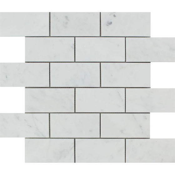 2 x 4 Honed Bianco Carrara Marble Brick Mosaic Tile - Tilephile
