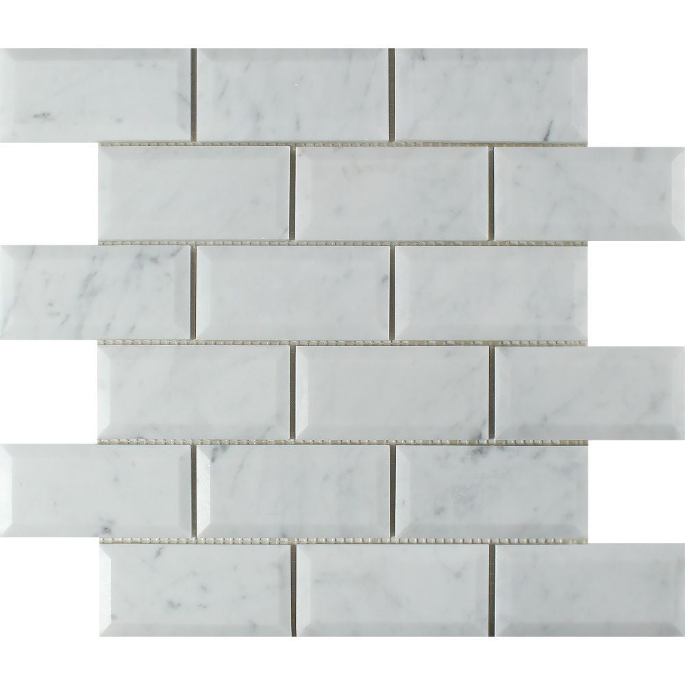 2 x 4 Honed Bianco Carrara Marble Deep-Beveled Brick Mosaic Tile - Tilephile