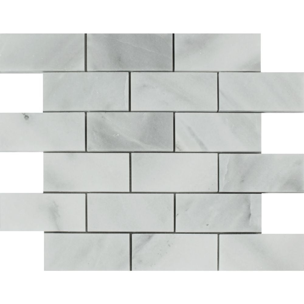 2 x 4 Honed Bianco Mare Marble Brick Mosaic Tile Sample