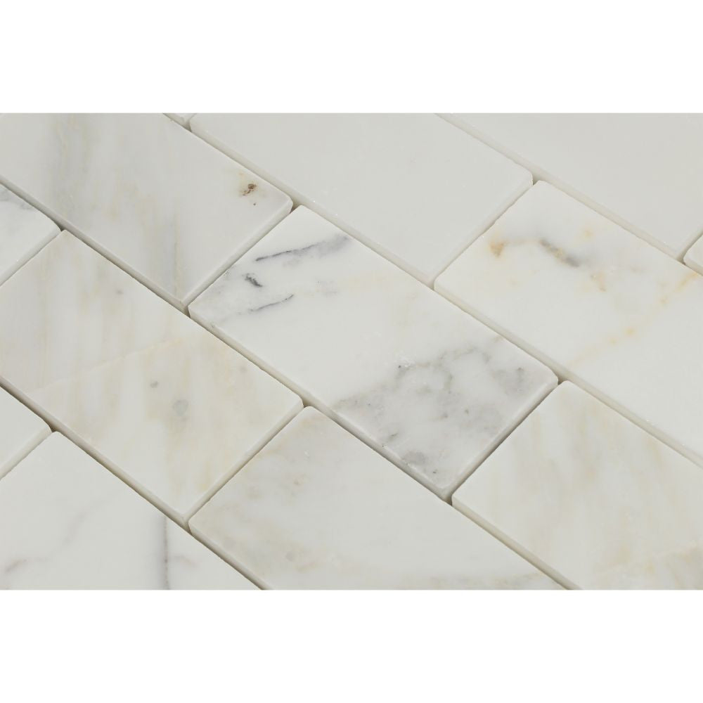 2 x 4 Honed Calacatta Gold Marble Brick Mosaic Tile - Tilephile