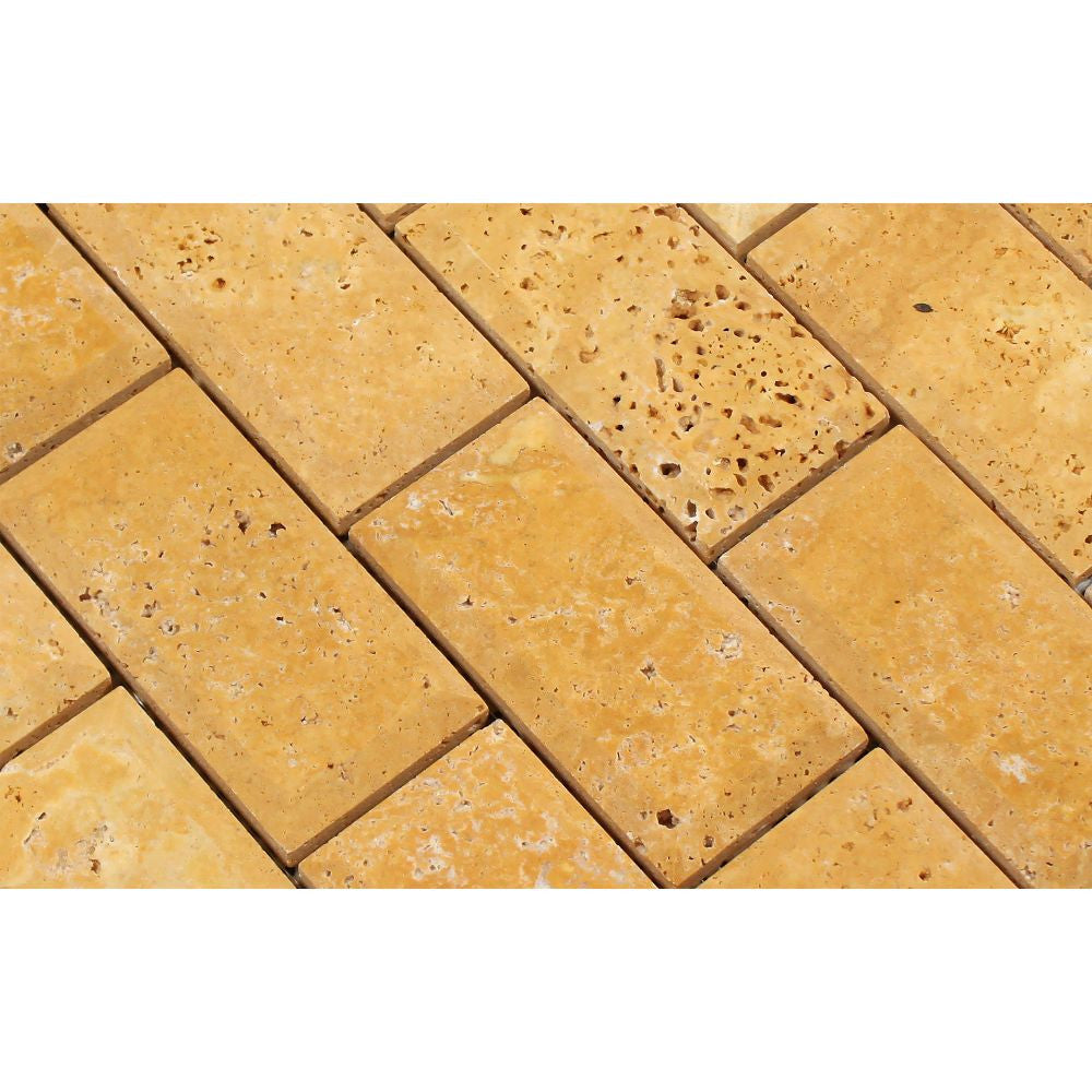 2 x 4 Honed Gold Travertine Deep-Beveled Brick Mosaic Tile - Tilephile