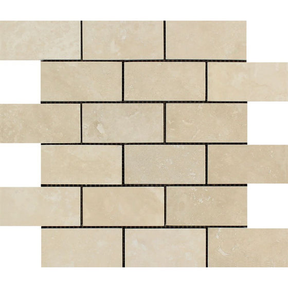 2 x 4 Honed Ivory Travertine Brick Mosaic Tile - Tilephile