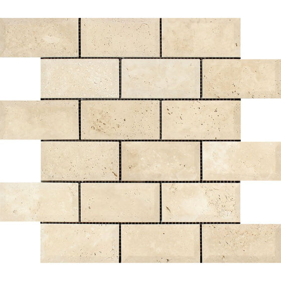 2 x 4 Honed Ivory Travertine Deep-Beveled Brick Mosaic Tile - Tilephile