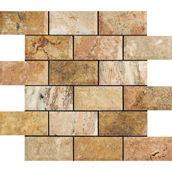 2 x 4  Honed Scabos Travertine Deep-Beveled Brick Mosaic Tile