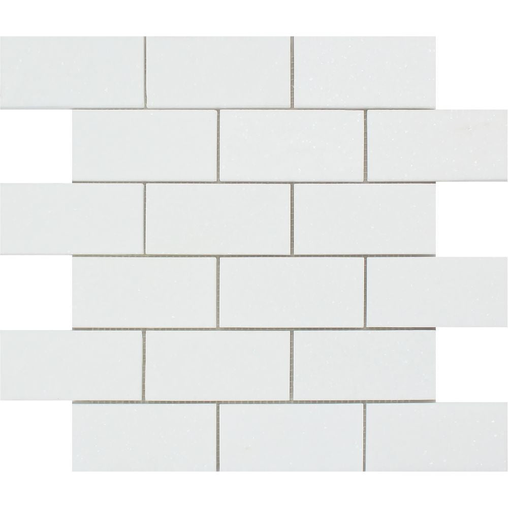 2 x 4 Honed Thassos White Marble Brick Mosaic Tile Sample - Tilephile