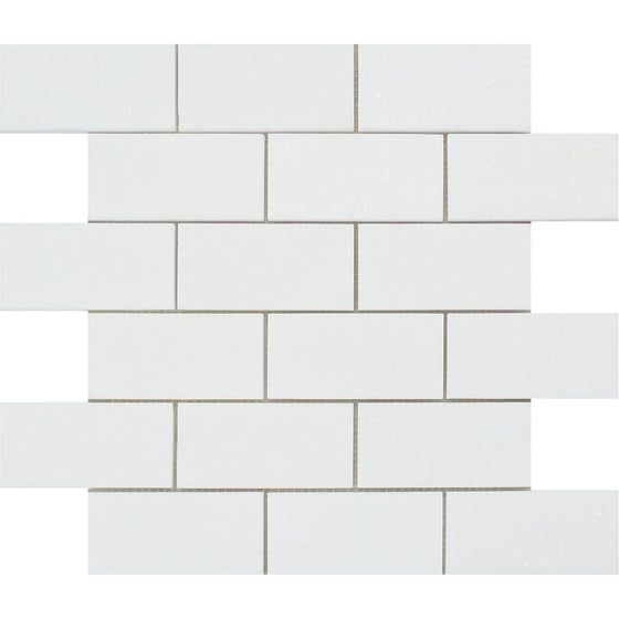 2 x 4 Honed Thassos White Marble Brick Mosaic Tile - Tilephile