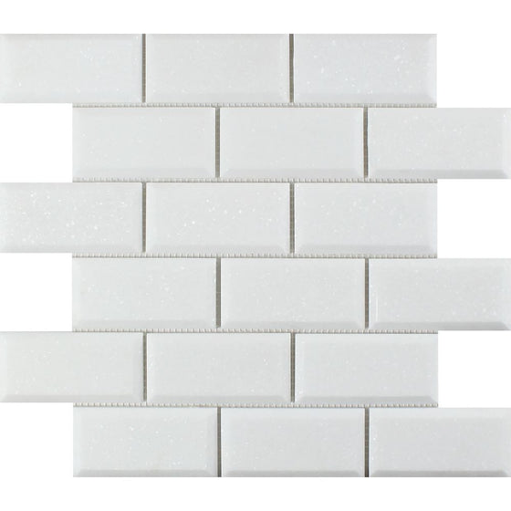 2 x 4 Honed Thassos White Marble Deep-Beveled Brick Mosaic Tile